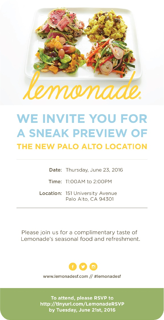 Lemonade Opens in Palo Alto — And You Can Taste it First!